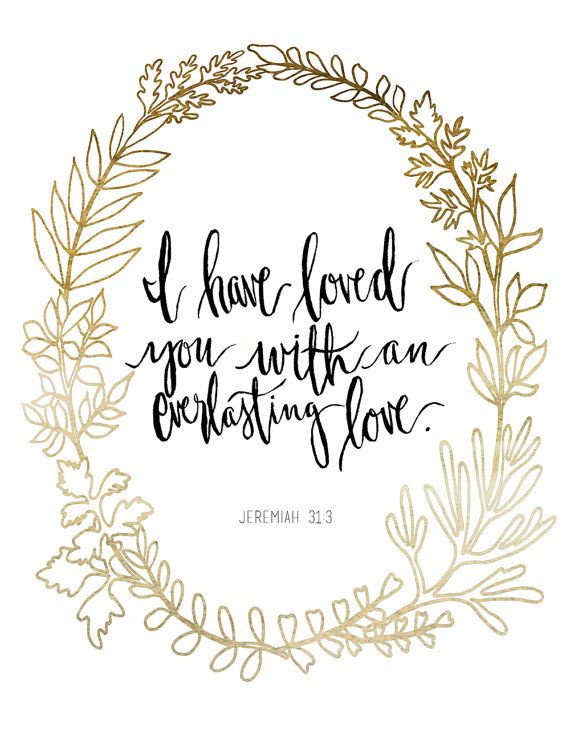 Hand Lettered Art Print Jeremiah 31:3 by AprylMade on Etsy