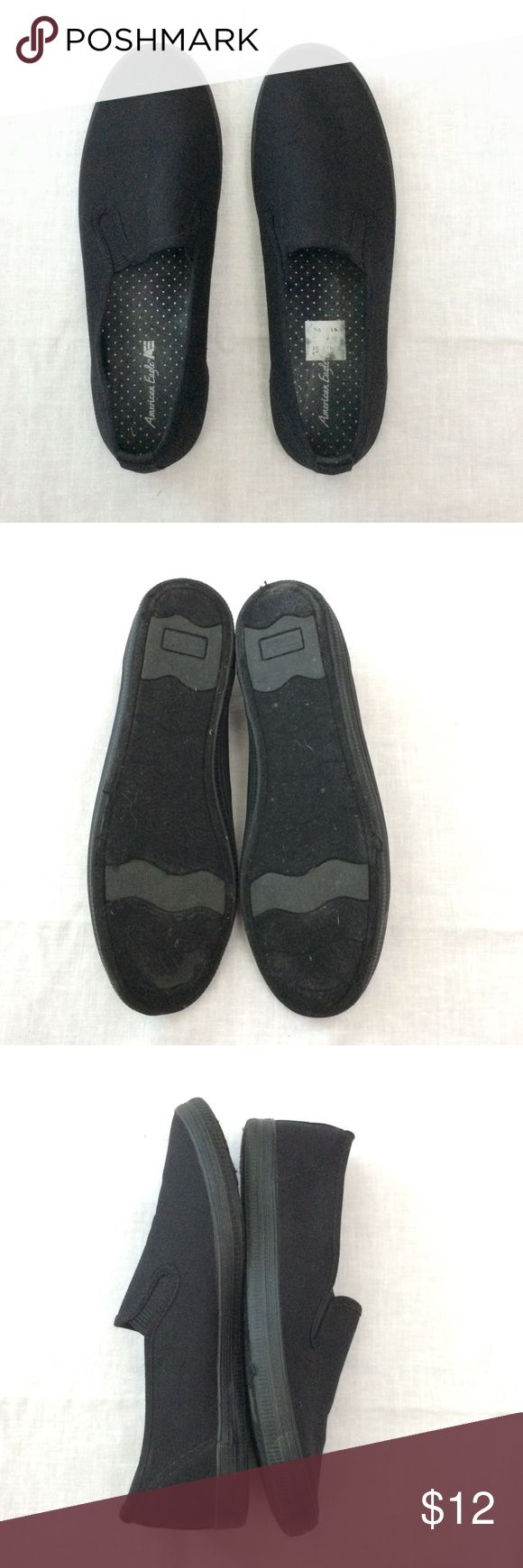 NEW LISTING American Eagle Shoe Size 9W American Eagle black slip on shoe size 9W  Canvas upper balance & man made materials.   In good condition.   Open to offers.   Thanks for browsing. American Eagle By Payless Shoes