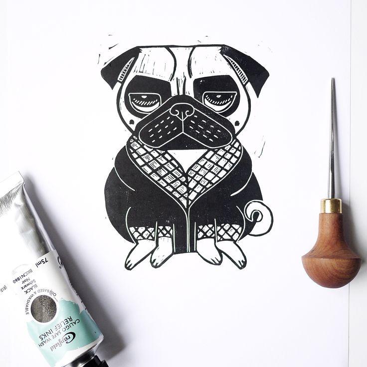Grumpy Pug Lino print Lino cut Pug stamp