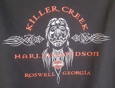 Harley Davidson motorcycles mens black t shirt size XL killer creek Roswell guc