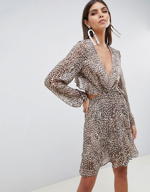 c6481beea8 ASOS DESIGN long sleeve mini dress with open back in leopard print with  ruffle details