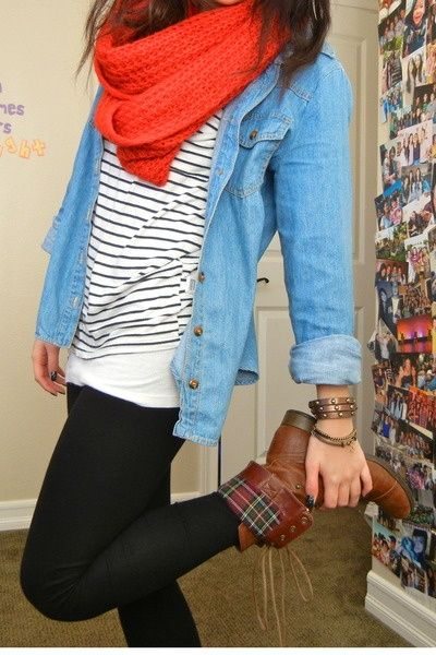 brown lace up boots, black leggings, striped shirt, denim shirt, red circle scarf