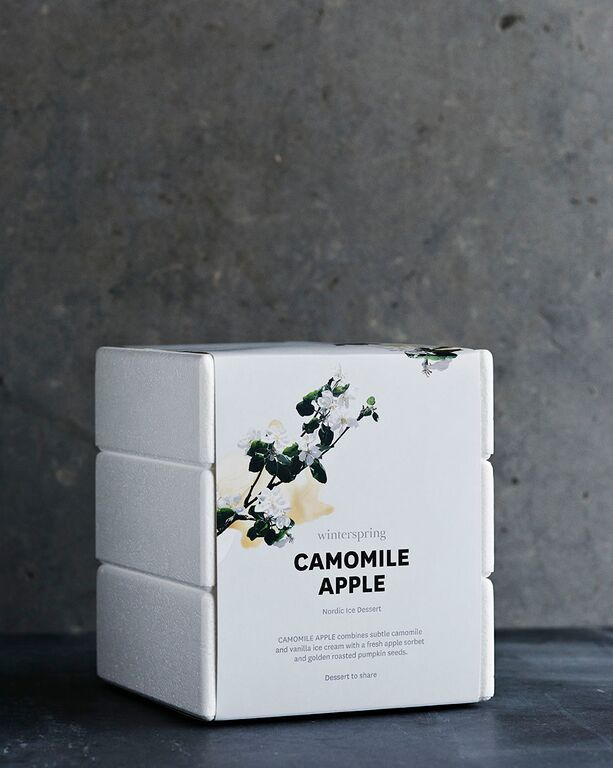 Camomile Apple combines an exquisite camomile and vanilla ice-cream with a fresh and chaste apple sorbet. All warmed by golden roasted pumpkin seeds.