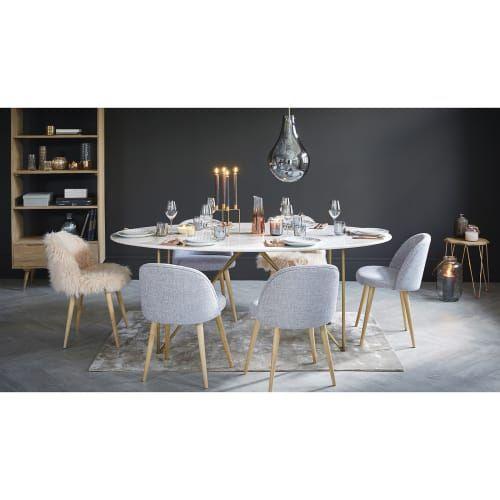 Tavolo In Marmo Bianco.Tavolo Da Pranzo 4 6 Persone In Marmo Bianco E Ferro Dorato 200
