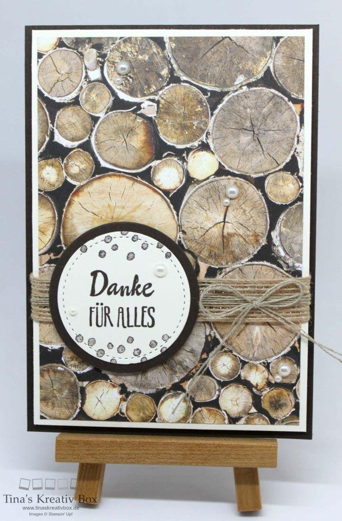 Grußkarte Holzdekor - mit Produkten von Stampin' Up!