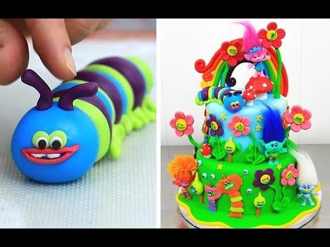 TROLLS CAKE How to Decorate with Fondant KIDS Birthday Idea by CakesStep...