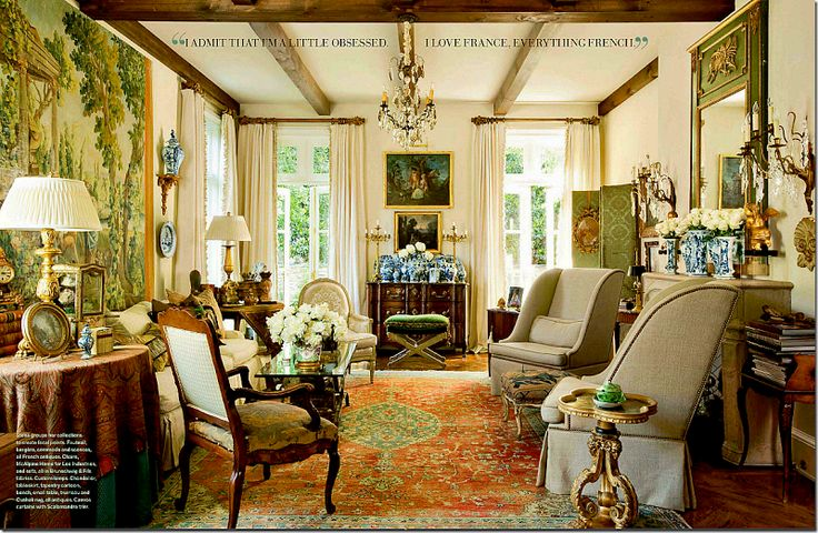 attractive living room of traditional french country home   charles faudree interiors/images   beautiful French living ...