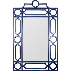 Navy Lacquer Mid Century Mirror