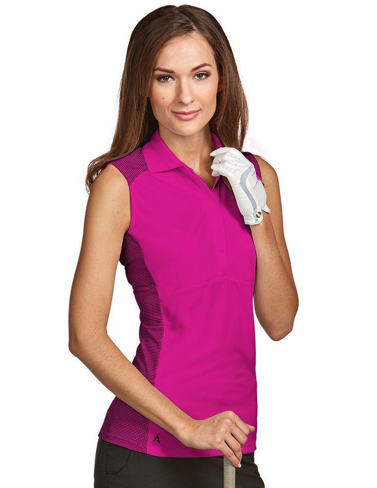 Antigua ladies stroke sleeveless golf polo golf for Plus size sleeveless golf shirts