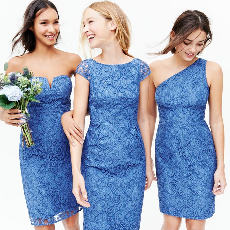 Bridesmaid dresses in steely ocean leavers lace - the color and dresses for the girls