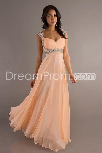 2013 Style A-line Straps Beading Sleeveless Floor-length Chiffon Prom Dresses / Evening Dresses