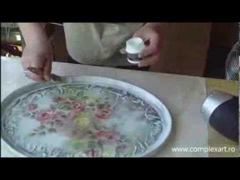 Decoupage Vintage, Lazura and Cracking varnish FINO - YouTube