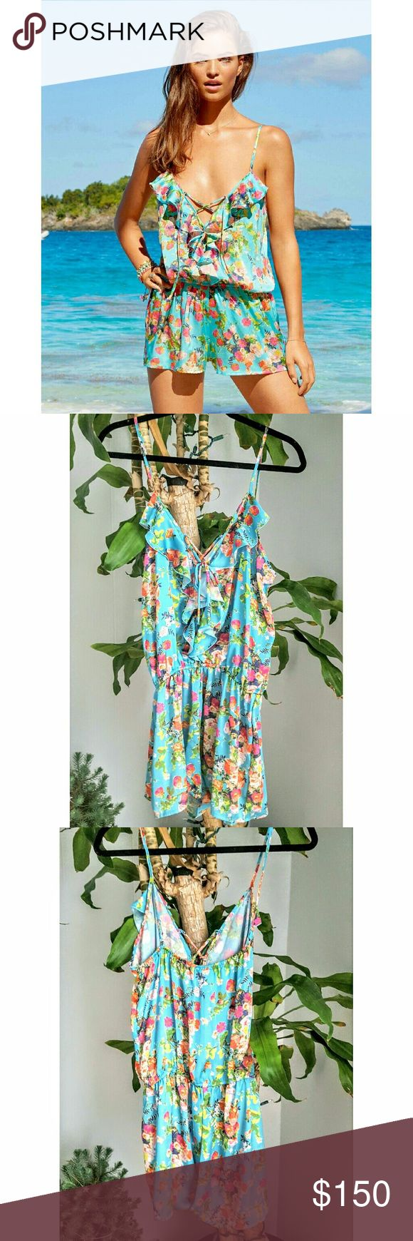 Beach Bunny Swimwear floral romper Silky romper with adjustable shoulder straps and plunging lace up front.  Perfect for brunch! Beach Bunny Shorts