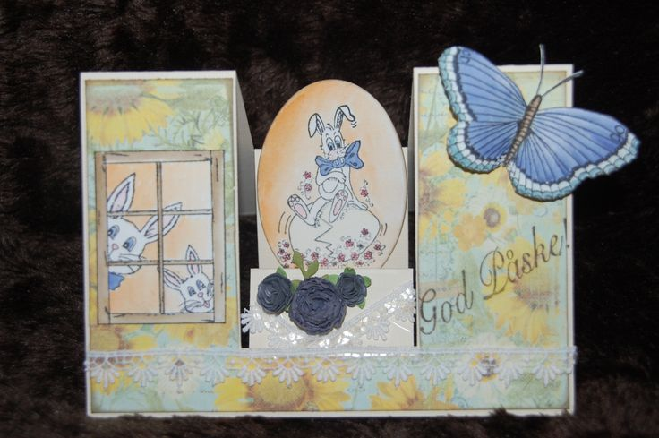 Four of our stamps. Easterbunnys in window, butterfly, bunny on egg and God påske