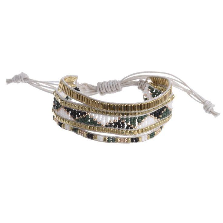 BRACELET ΙΝ WHITE-GREEN-GOLD COLORS - Bracelets - Jewellery - Accessories