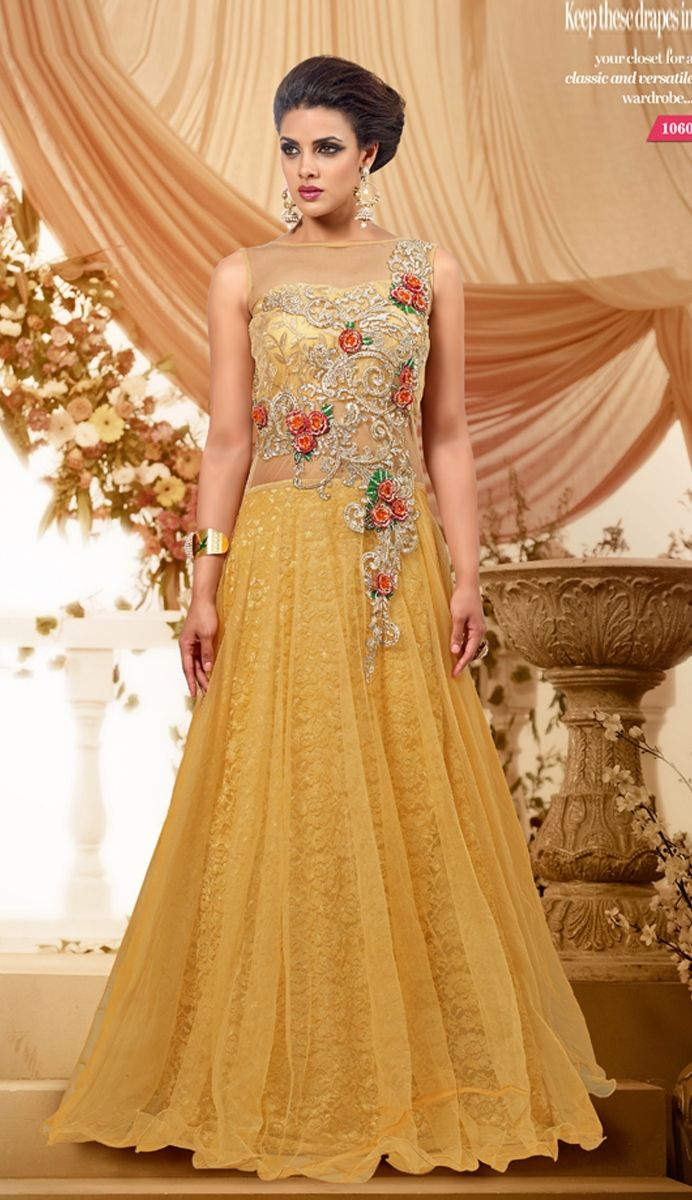 If you're not one who loves light color but like glitzy accents, this yellow modish A-Line gown is the best outfit for you. It's a neutral yellow color with beautiful crystals cascading down as the dress flows.