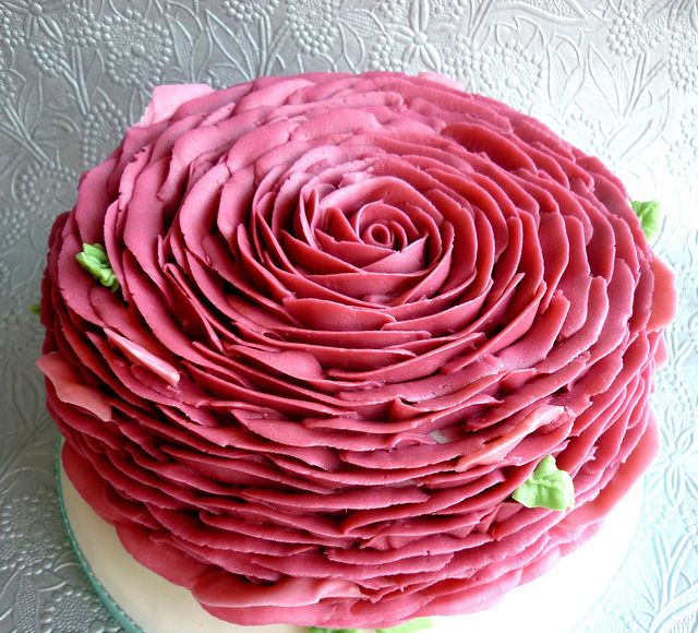 """this cake as an extension of the piped rose cupcakes that are proving really popular for me right now - this is a step further as it's a whole cake piped with buttercream petals!    This is a 6"""" cake"""