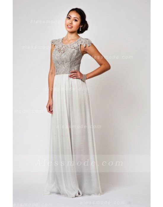 exquise dentelle mancherons forme fourreau longue mousseline de soie robe de demoiselle d'honneur