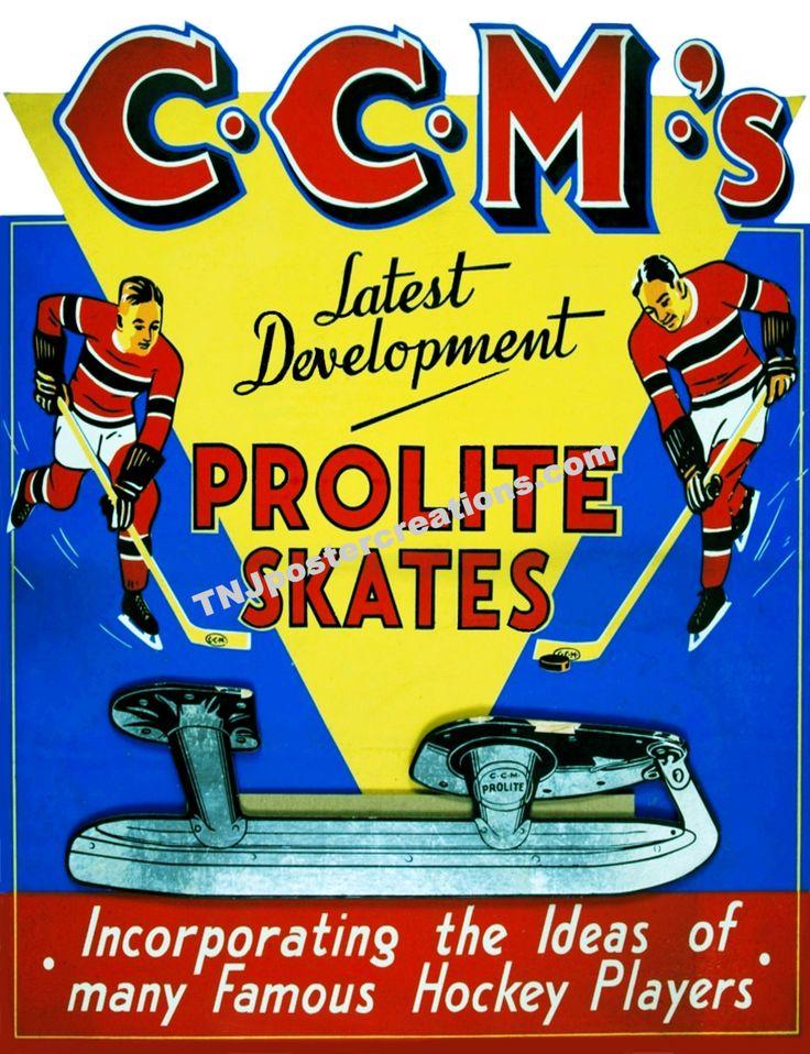 CCM Hockey Skates Promotional Poster – Prolite Skates for Famous Hockey Players by MyGenerationShop on Etsy