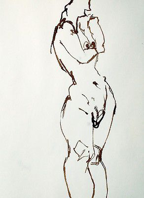 Artist-Canada-early-work-drawing-FIGURE-POSE-22-8x11-inches-ink-on-paper