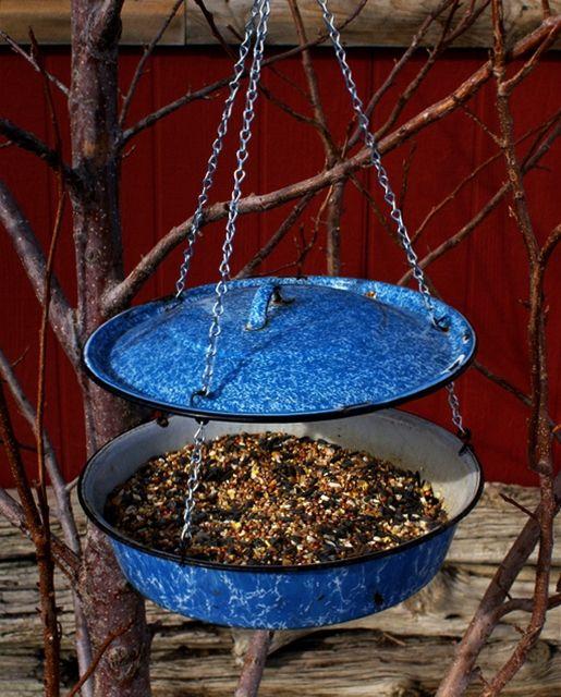 MaryJanesFarm - Ranch Farmgirl blog - birdfeeder made from vintage enamelware.