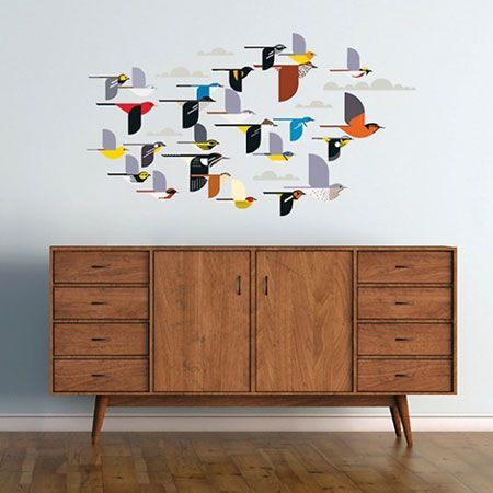 retro to go charley harper a flock of birds wall stickers - Wall Design Decals