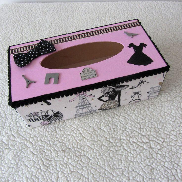 """Réservé: Boîte à mouchoirs """"la parisienne"""" en rose, noir et gris chic et rétro : Boîtes, coffrets par nymeria-creation"""