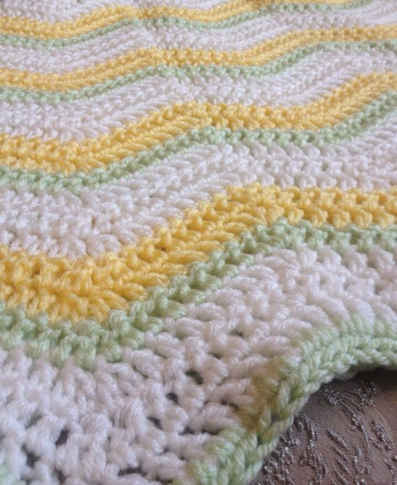 Chevron Baby Blanket, Cream, Yellow & Green Blanket, Stroller Afghan, Car Seat Blanket, Gender Neutral, Baby Shower Gift, Lap Blanket on Etsy, $32.00