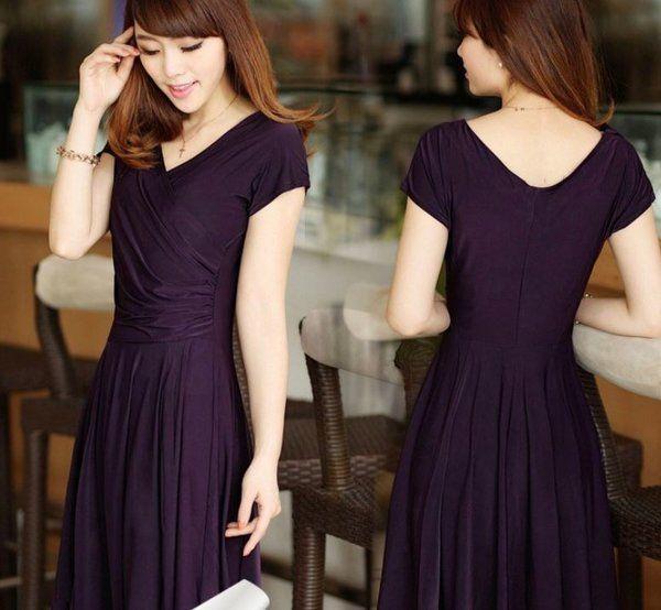 Eggplant Color Dress Purple V Neck Dress Knee Length Silk Dress | Rudelyn's Sari Sari Store