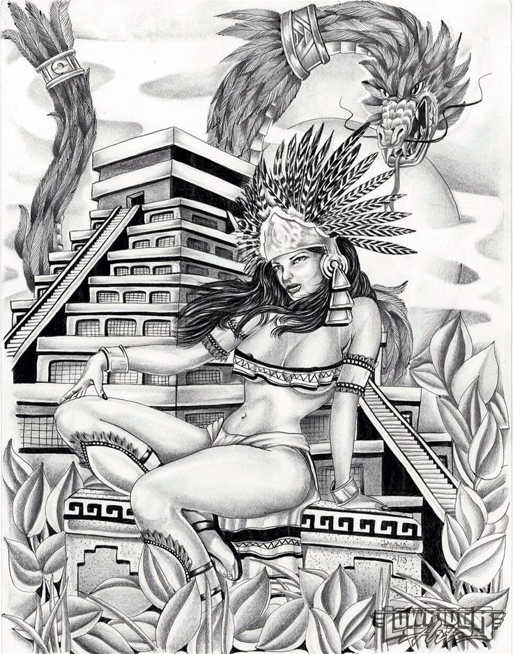 aztec murals coloring pages - photo#26