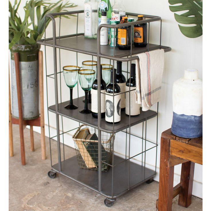 3-Tier Industrial Utility Cart gray