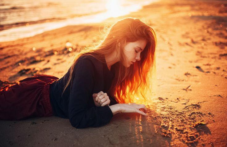Девушка, Пляж, Солнце, Море, Песок, Волосы,
