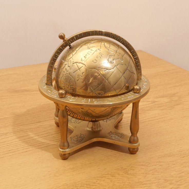 Decorative Brass Globe || vintage solid brass by UKAmobile on Etsy https://www.etsy.com/listing/259469887/decorative-brass-globe-vintage-solid
