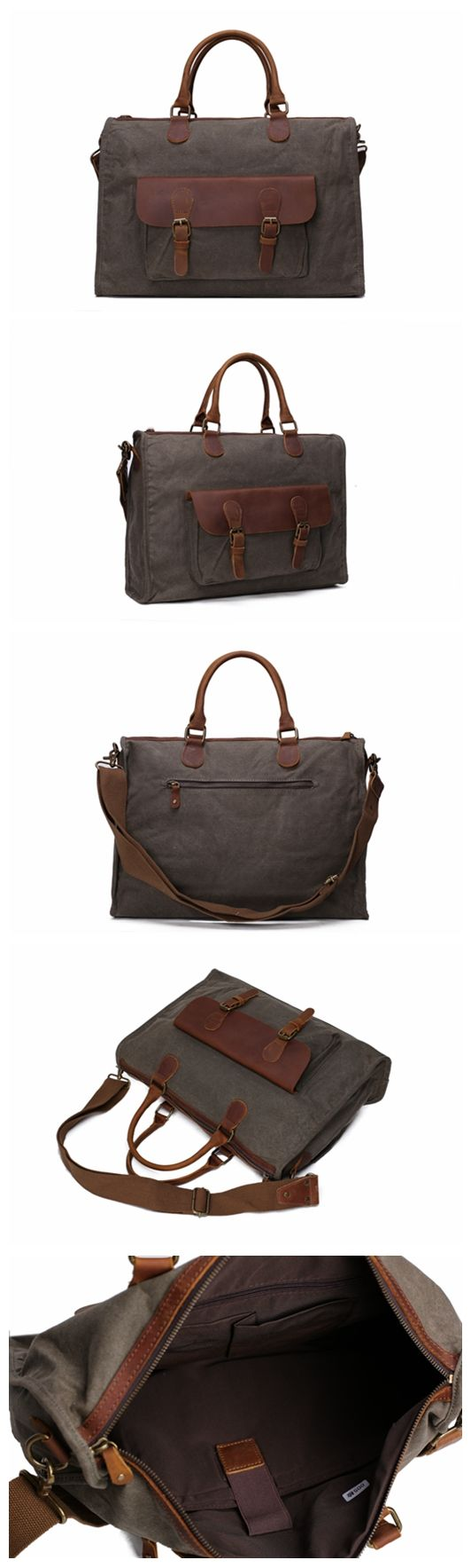 Vintage Canvas Leather Messenger Bag Canvas Leather Satchel Canvas 15 Inch Laptop Bag Crossbody Shoulder Bag Canvas Leather Handbag Men's Briefcase