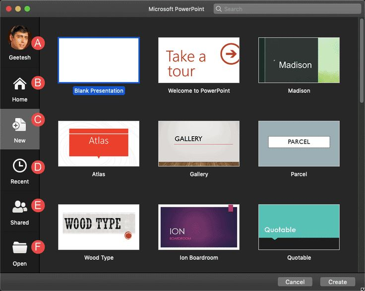 File menu and backstage view in powerpoint 365 for mac