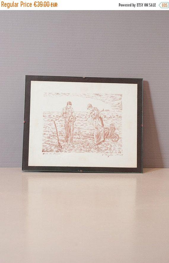 """On Sale Lithograph after  Millet's masterpiece """"L'Angélus""""/ Chalcographie du Louvre , Paris Museum Print."""