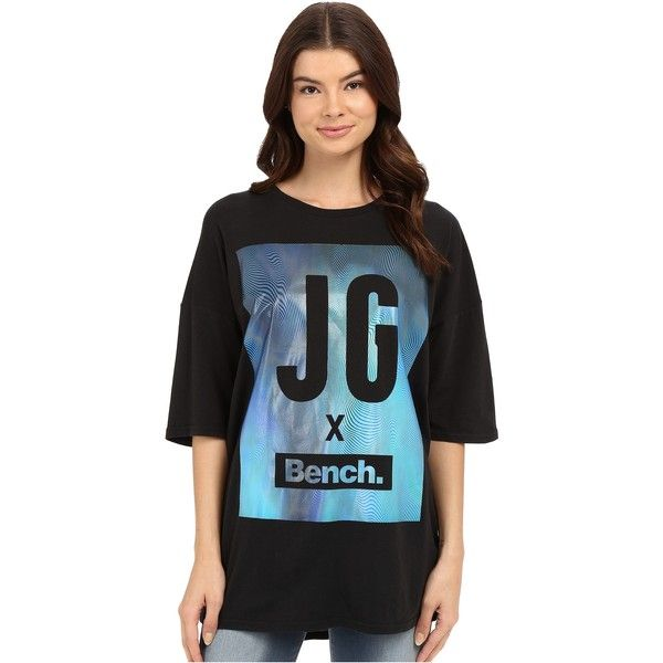 Bench Jess Glynne x Bench collaboration- Keep Laughing Short Sleeve... ($16) ❤ liked on Polyvore featuring tops, t-shirts, black, crew neck tee, bench t shirts, short sleeve tops, oversized tops and short sleeve tee