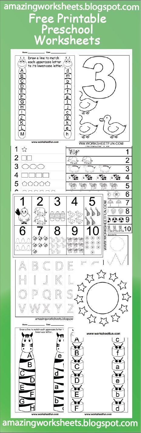 Free Printable Preschool Worksheets | Para imprimir gratis hojas de tareas para niños de nivel preescolar