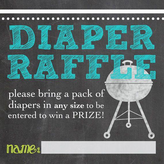 bbq baby shower diaper raffle printable custom by katesprintables, $5.00