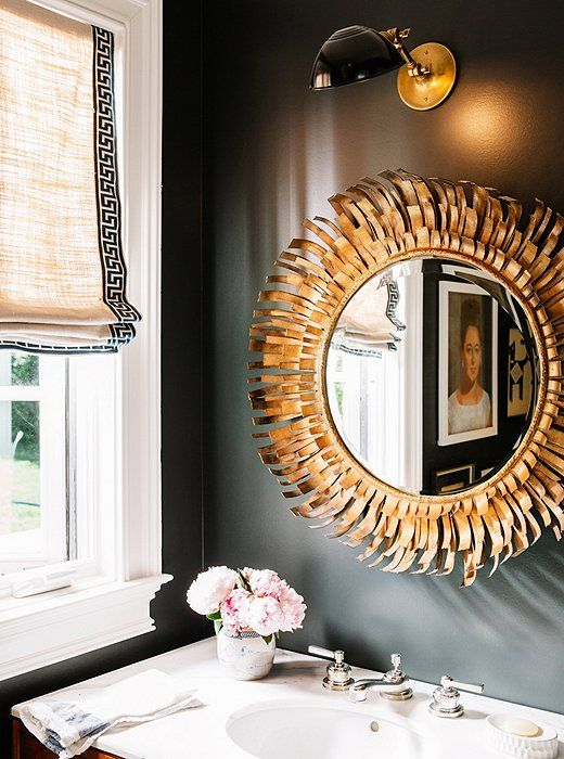 Marvelous Dark Bathroom   Round Gold Mirror   Roman Shade With Contrasting Trim    Patterson Maker