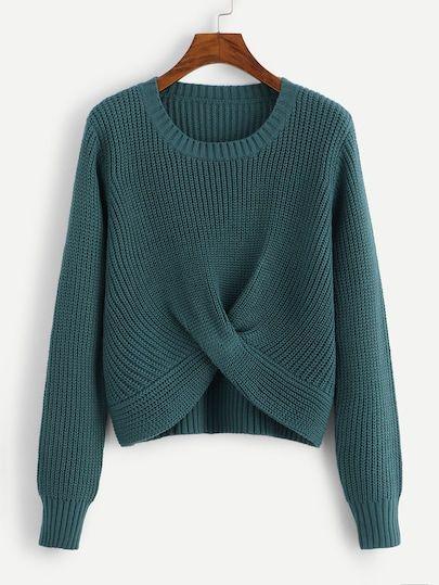 9ca9066cdf V-neckline Twist Front Chunky Knit Sweater -SheIn(Sheinside ...