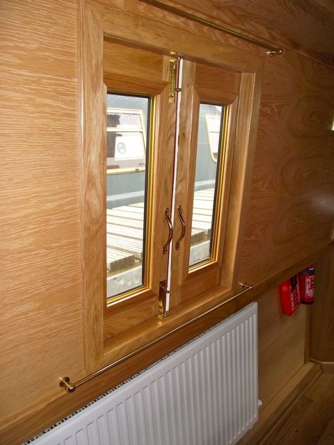 Internal view of a side hatch with glazed doors. For more