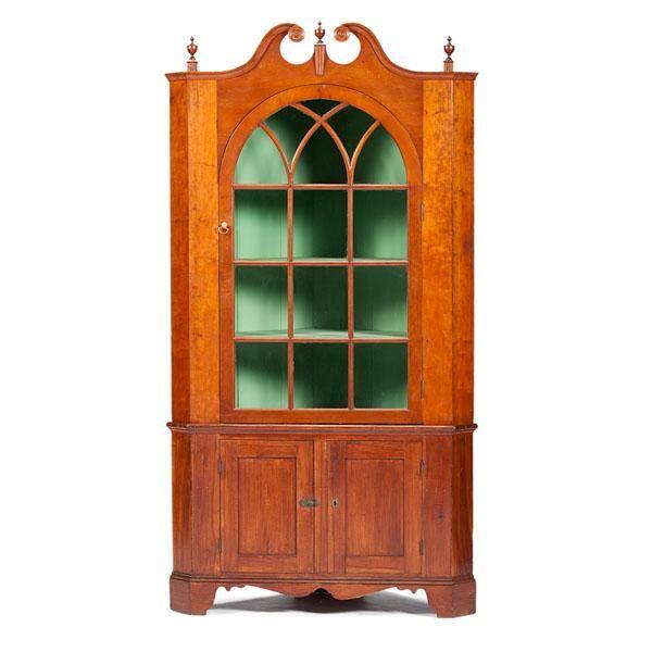 Cherry Scroll-Top Corner Cupboard - Price Estimate: $800 - $1200