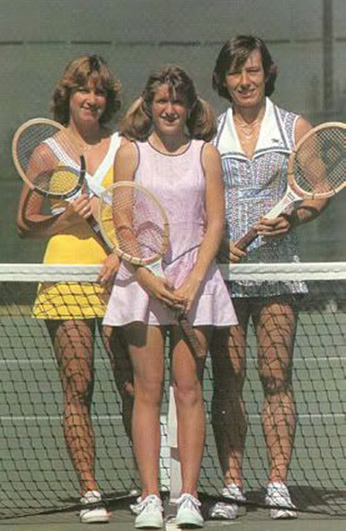 Left to right: Chris Evert, Tracy Austin, Martina Navratilova - 1977 US Open