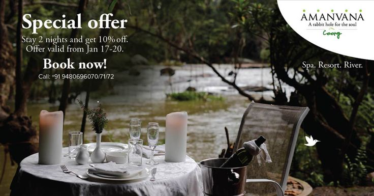#amanvanaspa #offer #coorgresorts An irresistible offer from Amanvana, and a great excuse to drive down to Coorg! For more details visit : http://www.amanvanaspa.com/