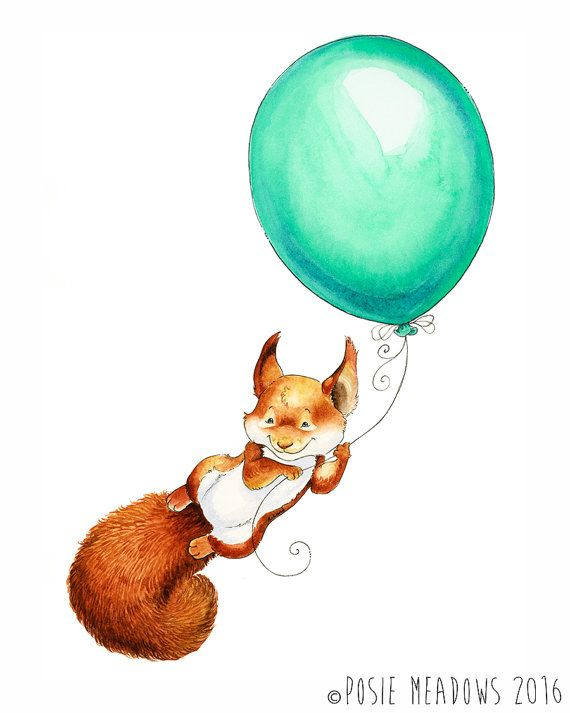 Red Squirrel, Squirrel Nursery Art, Baby Squirrel, Squirrel Nursery, Forest Animal, Nursery Art, Nursery Decor, Watercolor Nursery, Balloon