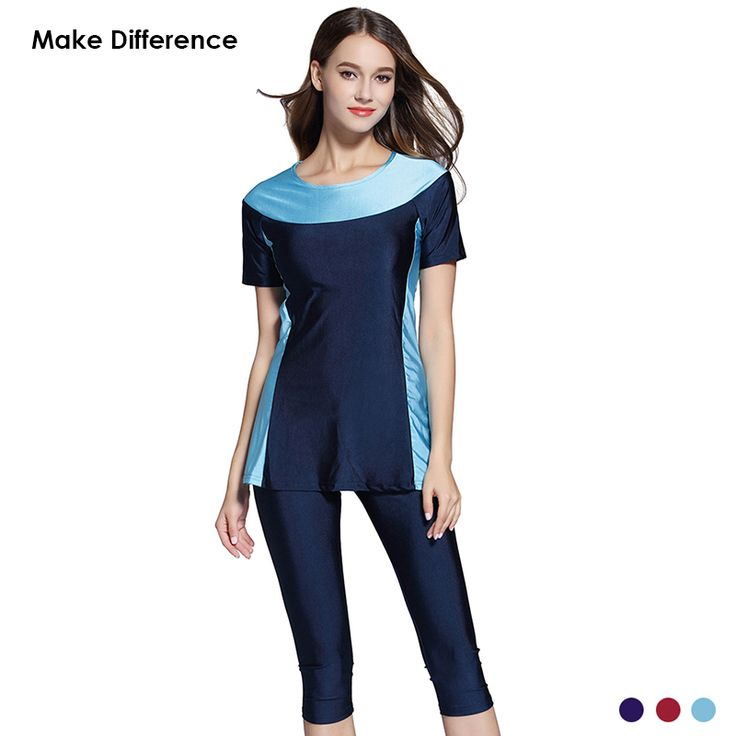 Make Difference Lycra Padded Muslim Swimwear Burkinis Modest Islamic Swimwear Half Short Women Girls Muslim Swiming Clothes Islam * AliExpress Affiliate's Pin.  Find similar products on AliExpress website by clicking the image