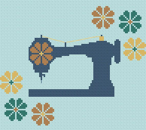 Mod Machine Vintage Inspired Sewing Machine Cross Stitch