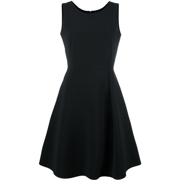 Emporio Armani Sleeveless Short Dress ($652) ❤ liked on Polyvore featuring dresses, black, flare dress, sleeveless flare dress, flared mini dress, short flared dresses and no sleeve dress