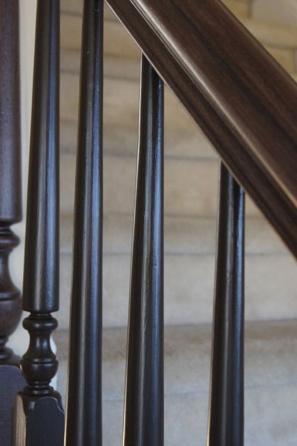 Rails And Spindles Refinished With Black And An American Walnut Stain.